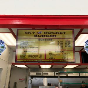 Sky Rocket Burger Menu Board