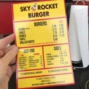 Sky Rocket Burger Take Out Menu